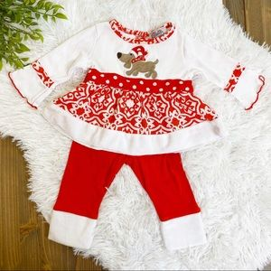 Christmas Santa Puppy Two Piece Set 6-9 Month